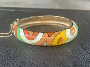Colorful Vintage Eisenberg Enamel Pucci Inspired Artist Hinged Bangle Bracelet