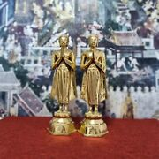 21.5 Pair Of Thailand Brass Buddha Statue Standing Monk Carved Buddhist Letters