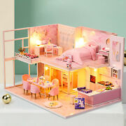 Doll House With Furniture Full Set Wooden Led Light Pink Room Puzzle Toy