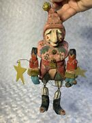 Rare House Of Hatten Vintage Hand Carved Christmas Ornament Elf Decor