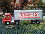 Vintage Structo Canada Usa Tgandy Semi Truck And Trailer Red 22 Pressed Steel