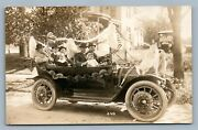 Antique Automobile Decorated W/ American Flags Real Photo Postcard Rppc Car