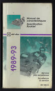 Bombardier Ski-doo Snowmobile Technical Specification Booklet 1989 To 1993