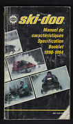 Bombardier Ski-doo Snowmobile Technical Specification Booklet 1990 To 1994