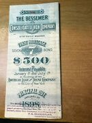 1898 Bessemer Consolidated Iron Co. First Mortgage Bond 566 18 Coupons Wi