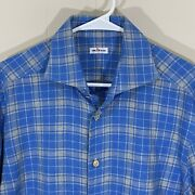 Kiton Long Sleeve Flannel Shirt Blue And Gray Plaid Menandrsquos Size Large 42