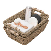 Granny Says Hand-woven Large Storage Baskets With Wooden Handles, Seagrass Wi...