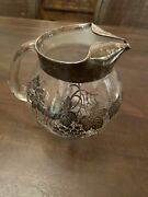 Vintage Sterling Silver Floral Overlay Clear Glass Pitcher With Ice Lip