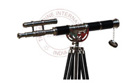 Antique Nautical Brass Leather Telescope With Wooden Tripod Stand Decor