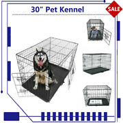 30 Pet Kennel Cat Dog Animal Playpen Wire Metal Cage Folding Tray Crate 2 Doors