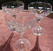 3 Lovely Tiffin Franciscan Aria Cut Glass 5 Saucer Champagne Goblet Stems New