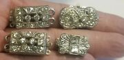 Vintage Rhinestone Necklace Clasp Findings Lot Of 4
