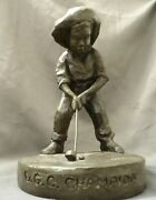 Bronze Sculpture D.g.c Detroit Golf Club Trophy Putter Boy Sundial 1973 Roz