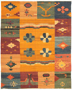 Vintage Hand Woven Carpet 10and0392 X 12and0397 Wool Kilim Area Rug