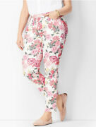 Talbots Flawless 5 Pocket Curvy Slim Ankle Pink Floral Jeans Slimming Size 14
