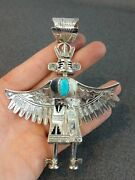 Kachina Warrior Pendant Sterling Silver Turquoise Doll Signed Nm Handcrafted 3d