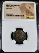 Greek Bruttium Croton C. 480-430 Bc Ar Stater Ngc Graded F With Some Toning