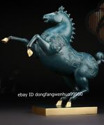 Chinese Pure Copper Bronze Feng Shui Success Lucky Animal Dragons Horse Statue