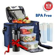 Insulated Lunch Bag Set Thermos Cooler Leakproof Tote Food Box For Men Women Gym