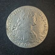 1805 Mexico Mo Th Sea Salvage 8 Reales Spanish Colonial Silver 8r