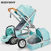 Luxury Baby Stroller 3 In 1 With Car Seat Portable High Landscape Baby Stroller