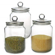 Glass Jars Candy Jar With Lid For Household Food Grade Clear 1/2 Gallon/3 Pack