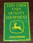 John Deere Sign Quality Equipment Advertising Green 18 × 12 New Discontinued