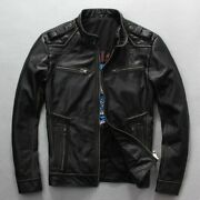 Men's Motorcycle Leather Jacket Vintage Thick Cowhide Rider Jackets Biker Coats