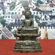 19.9 Large Thailand Laos Chiang Rung Bronze Buddha Statue Antique On Horn Base.