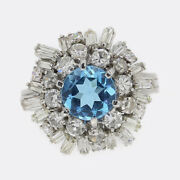 Vintage Topaz And Diamond Cluster Ring 18ct White Gold