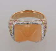 Chatila 18ct Rose Gold Moonstone Sapphire And Diamond Cabochon Ring Size R
