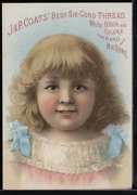 Victorian Trade Card 1880s J And P Coats Six Cord Thread For Sewing Vtc-c18