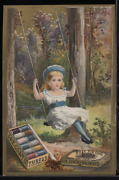 Victorian Trade Card 1880s J And P Coats Six Cord Thread Sewing Girl Swing Vtc-c38