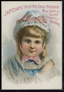 Victorian Trade Card 1880s J And P Coats Six Cord Thread For Sewing Vtc-c24