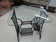 Vintage Singer Sewing Machine Treadle Cast Iron Table Base W/ Glass Top