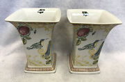 Pair Of 8andrdquoh Spode Sumatra Vase Birds And Butterflies F1995 Mint
