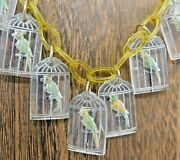Plastic Charm Paperclip Necklace Intaglio Reverse Painted Bird Parrot Cage