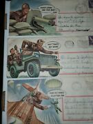 3 World War 2 Comic Envelopes With Letters