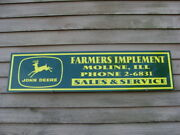 Early 50and039sish John Deere Equip Personalized Dealer Sign/ad W/4leg/8point Buck