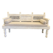 Classic Wood And Handcrafted Wooden Divan In Solid Teak Wood