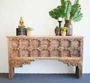 Vintage Natural Console With Carvings Wooden Table
