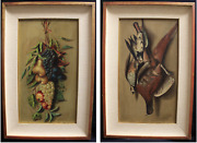 Pair Of Nature Death Oil On Hardboard Dating Beginning And039900 / Nature Still