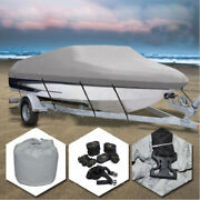 Waterproof Heavy Duty Boat Cover Trailerable V-hull Runabouts W/ Cotton Lining