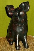 Pig Sculpture / Hand Carved Iron Wood Hog / Painted Bronze Appearance /12 Tall