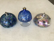 Lot 3 Hand Blown Colored Glass Oil Lamps Wicks Art Table Top Beautiful Vintage