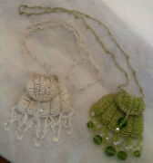 Antique Glass Beaded And Crystal Mini Pursestotal 2 Purses 3 Inches Straps 11