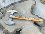 Ak Cutlery Fancy Handmade Damascus Double Axe Handle Made By Wood