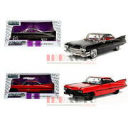 Jada 1/24 1959 Cadillac Coupe Deville Hard Top Diecast Black Red Set 99989