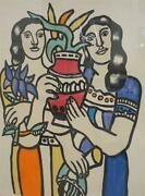 Fernand Leger French 1881-1955 Two Woman Holding A Vase 35x29 138/500 Litho