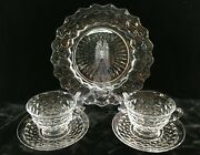 Fostoria American Clear 2 Cups And Saucer And 1 Dinner Plate